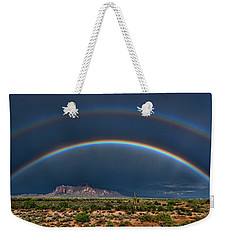 Weekender Tote Bag featuring the photograph Double Rainbow  by Saija Lehtonen