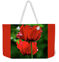 Double Red Poppies Weekender Tote Bag