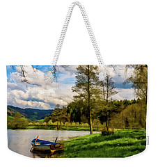 Weekender Tote Bag featuring the photograph Down By The Lake Photodigitalpainting by David Dehner