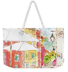 Weekender Tote Bag featuring the painting Down Rua Serpa Pinto Lisbon by Pat Katz