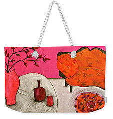 Weekender Tote Bag featuring the painting Down The Stairs Into The Living Room  By Paul Paucciarelli  by Iconic Images Art Gallery David Pucciarelli