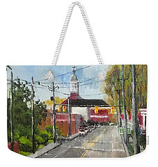 Weekender Tote Bag featuring the painting Down Town Jacksonville Nc by Jim Phillips