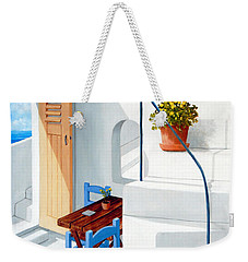 Downstairs In Santorini - Prints Of Original Oil Painting Weekender Tote Bag