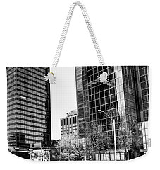 Weekender Tote Bag featuring the photograph Downtown Bubble Reflections by Darcy Michaelchuk