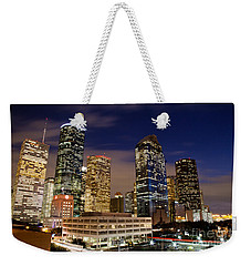 Downtown Houston At Night Weekender Tote Bag