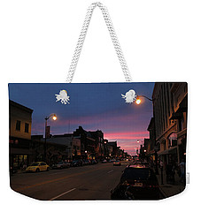 Weekender Tote Bag featuring the photograph Downtown Racine At Dusk by Mark Czerniec