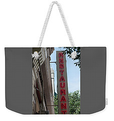 Downtown Restaurant Weekender Tote Bag by Suzanne Gaff