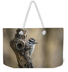 Downy Woodpecker Img 1 Weekender Tote Bag by Bruce Pritchett