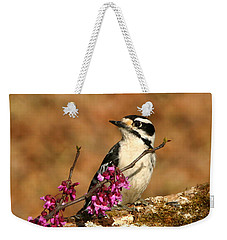 Downy Woodpecker In Spring Weekender Tote Bag