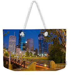 Dowtown Houston By Night Weekender Tote Bag