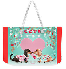 Weekender Tote Bag featuring the painting Doxie Valentine's Party by Catia Lee