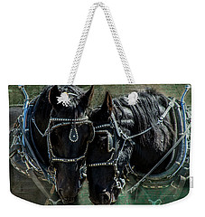 Weekender Tote Bag featuring the photograph Draft Horses by Mary Hone