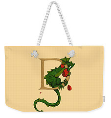 Weekender Tote Bag featuring the digital art Dragon Letter D 2016 by Donna Huntriss