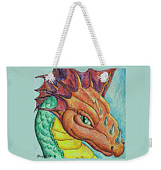 Weekender Tote Bag featuring the drawing Dragon Portrait by Yulia Kazansky