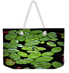 Dragonfly Among The Lily Pads Weekender Tote Bag by Tara Potts