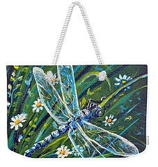 Dragonfly And Daisies Weekender Tote Bag