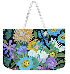 Weekender Tote Bag featuring the painting Dragonfly And Flowers by Robin Maria Pedrero