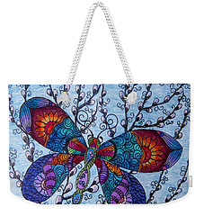 Dragonfly And Pussywillows Weekender Tote Bag by Megan Walsh