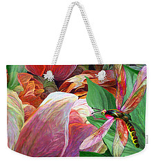 Weekender Tote Bag featuring the mixed media Dragonfly And Tulips 2 by Carol Cavalaris