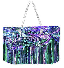 Weekender Tote Bag featuring the mixed media Dragonfly Bloomies 1 - Lavender Teal by Carol Cavalaris