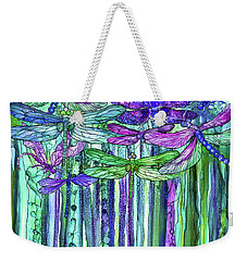 Weekender Tote Bag featuring the mixed media Dragonfly Bloomies 1 - Purple by Carol Cavalaris