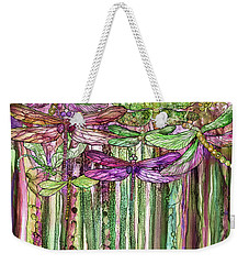 Weekender Tote Bag featuring the mixed media Dragonfly Bloomies 1 - Pink by Carol Cavalaris