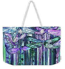 Weekender Tote Bag featuring the mixed media Dragonfly Bloomies 2 - Lavender Teal by Carol Cavalaris