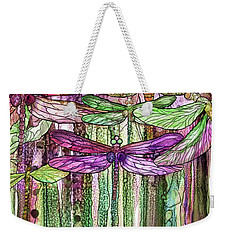 Weekender Tote Bag featuring the mixed media Dragonfly Bloomies 2 - Pink by Carol Cavalaris