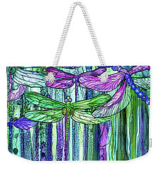 Weekender Tote Bag featuring the mixed media Dragonfly Bloomies 2 - Purple by Carol Cavalaris