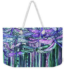 Weekender Tote Bag featuring the mixed media Dragonfly Bloomies 3 - Lavender Teal by Carol Cavalaris