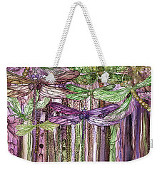 Weekender Tote Bag featuring the mixed media Dragonfly Bloomies 3 - Pink by Carol Cavalaris