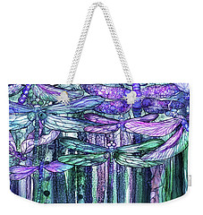 Weekender Tote Bag featuring the mixed media Dragonfly Bloomies 4 - Lavender Teal by Carol Cavalaris