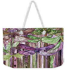 Weekender Tote Bag featuring the mixed media Dragonfly Bloomies 4 - Pink by Carol Cavalaris