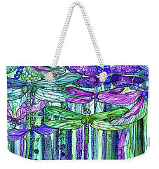 Weekender Tote Bag featuring the mixed media Dragonfly Bloomies 4 - Purple by Carol Cavalaris