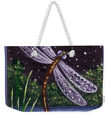 Weekender Tote Bag featuring the painting Dragonfly Dreaming by Sandra Estes