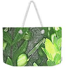Dragonfly In Green Repose Weekender Tote Bag