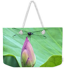 Dragonfly Landing On Lotus Weekender Tote Bag