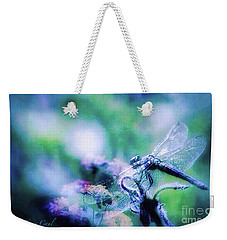 Dragonfly On Lantana-blue Weekender Tote Bag by Toma Caul