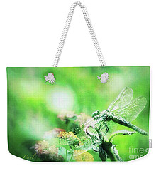 Dragonfly On Lantana-green Weekender Tote Bag by Toma Caul