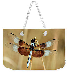 Weekender Tote Bag featuring the photograph Dragonfly On Reed by Sheila Brown