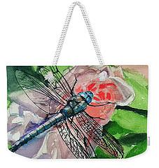 Dragonfly On Rose Weekender Tote Bag