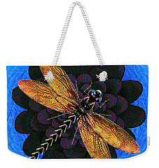 Weekender Tote Bag featuring the digital art Dragonfly Snookum by Iowan Stone-Flowers