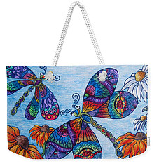 Weekender Tote Bag featuring the drawing Dragons On The Wing by Megan Walsh