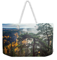 Dramatic Autumn Forest With Trees On Foreground Weekender Tote Bag