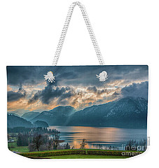 Dramatic Sunset Over Mondsee, Upper Austria Weekender Tote Bag by Jivko Nakev