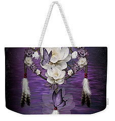 Dream Catcher Purple Flowers Weekender Tote Bag