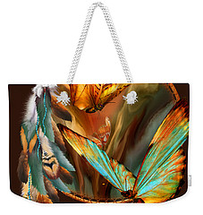 Weekender Tote Bag featuring the mixed media Dream Catcher - Spirit Of The Butterfly by Carol Cavalaris