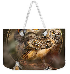 Weekender Tote Bag featuring the mixed media Dream Catcher - Spirit Of The Owl by Carol Cavalaris