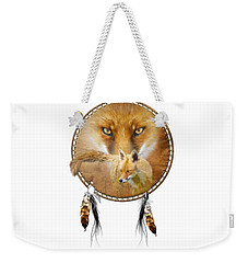 Weekender Tote Bag featuring the painting Dream Catcher- Spirit Of The Red Fox by Carol Cavalaris