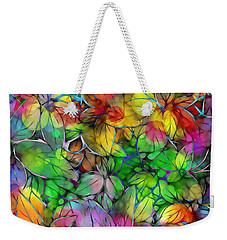Weekender Tote Bag featuring the digital art Dream Colored Leaves by Klara Acel
